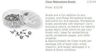 Clear rhinestone brads