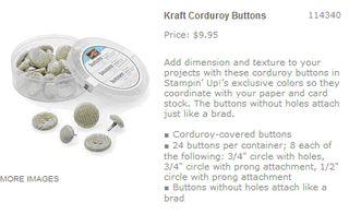 Kraft corduroy buttons