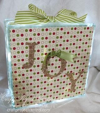 Joy Decorated Glass Block