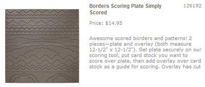 Borders scoring plate