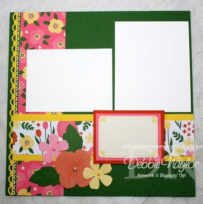 Unfrogettable Stamping | Fabulous Friday Flower Fair scrapbook layout 2013-04-26