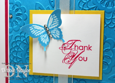 Unfrogettable Stamping | Fabulous Friday butterfly thank you card featuring Blooming with Kindness and Polka-Dot Pieces