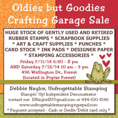 Unfrogettable Stamping | Huge crafting garage sale July 11-12