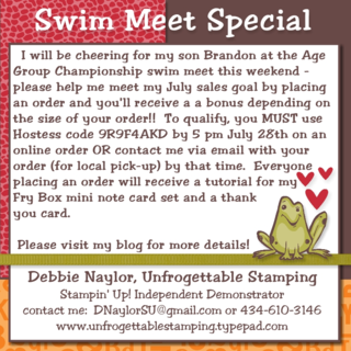 Unfrogettable Stamping | Swim Meet Special July 23-28, 2014