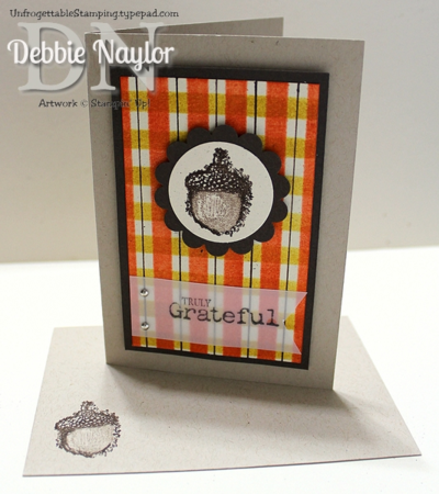 Unfrogettable Stamping | QE Truly Grateful plaid card 2014-08-12