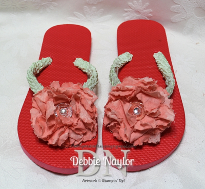 Unfrogettable Stamping | Pinterest-inspired Fabulous Friday fabric flower flip flops 2014-03-21