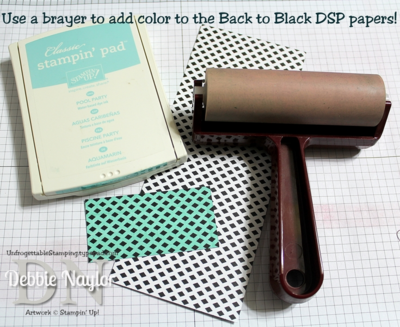 Unfrogettable Stamping | Use a brayer to add color to the Back to Black DSP for greater versatility