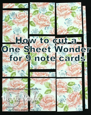Unfrogettable Stamping | Stippled Blossoms: how to cut a one sheet wonder for 9 note cards