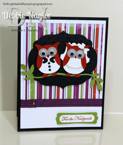 Unfrogettable Stamping | Halloween bride and groom owl punch art wedding card