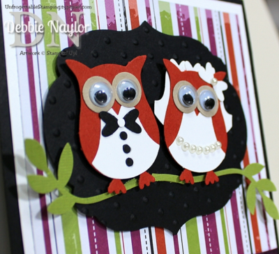 Unfrogettable Stamping   Halloween bride and groom owl punch art wedding card